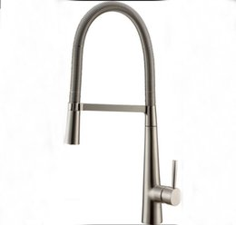 Wholesale Factory direct sale Luxury Brushed Nickel Kitchen Faucet Single Handle Hole Vessel Bar Sink Faucet Deck Mounted
