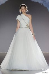 Wholesale 2016 one shoulder tulle wedding dresses micro pleated fabric ruban waist platinum stitch embroidery from jesus peiro bridal gowns
