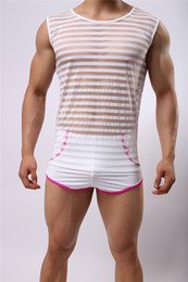 Wholesale-NEW Men Sexy Transparent Mesh Net Shirts Sexy Underwear Undershirts Vest Gym Stripe See Through Tank Tops Night Club Wear