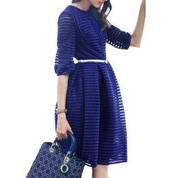 Wholesale Stripe See Through Dresses - Spring 2015 Fashion New Women Organza Dress Half Sleeve Stripe Mini Elegant Ladies See Through Party Dresses Plus Size Vestidos