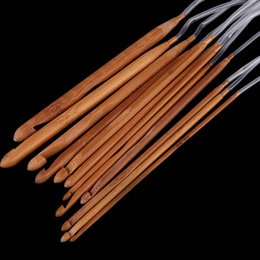"Hot sale 3.0-10.0mm 12 Sizes Afghan Tunisian Carbonized Bamboo Needle Crochet Hooks Weaving Needles 1.2m 48""22"