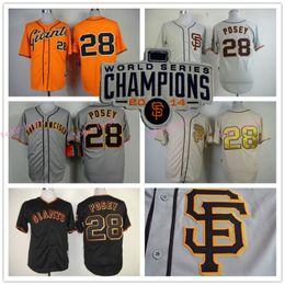 Wholesale Buster Posey Jersey San Francisco Baseball Jerseys Black Grey Orange Cream Gold Number