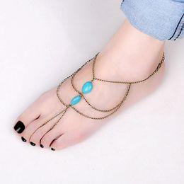 Wholesale Retro Fashion Ankle Foot Chain Handmade Toe Link Jewelry Harness Turquoise Bracelet Women Multi Tassel Brass Anklets Antique