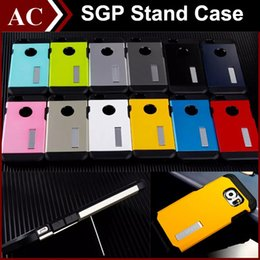 Wholesale SGP Tough Armor Stand Case For iPhone S Plus Galaxy S6 Edge Note LG G4 TPU PC Bumper Hybrid Cover Shockproof Back Skin in Shell