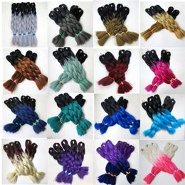 Kanekalon Synthetic braiding hair 20 24inch 100g Ombre two tone color jumbo braid hair extensions 18colors Optional