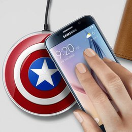 Wholesale Cargador Galaxy - Captain America Mobile Phone Charging Pad qi Wireless Charger For SAMSUNG Galaxy S6 G9200 S6 Edge Note 5 Cargador Inalambrico