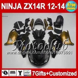 7gifts Gold black For KAWASAKI ZX-14R 12 13 12 13 ZX14 R 25C172 ZX 14R 12-13 NINJA ZX14R 2012 2013 2012 2013 ZX 14 R Golden black Fairing