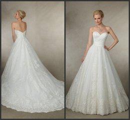 Wholesale Satin Sweetheart Neckline Wedding Dresses Lace Appliques Chapel Train A Line KR Bridal Gowns Covered Button Victoria Jane Joy