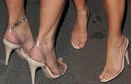 Wholesale-Newest Kim Kardashian Wearing Simple Style PVC Clear Transparent Strappy Buckle High Heel Sandals