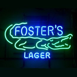 Wholesale 17 quot x14 quot Foster s Australian Lager Beer Real Glass Neon Light Signs for Home Shop Store Beer Bar Pub Restaurant Billiards Shops Display Signb