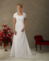Wholesale Custum Made NEW short sleeve A line chiffon bridal gown with Queen Ann style neckline with chiffon skirt Style Wedding Dresses