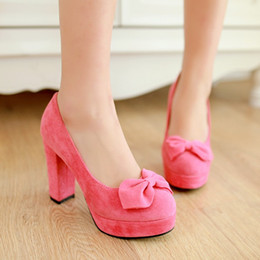 Shoes and 2016 thick with Korean Fashion Pink shallow mouth Europe waterproof bow roundheaded high heels