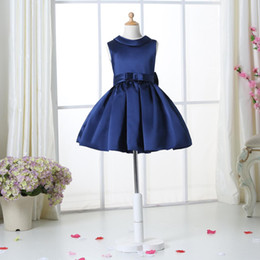 Navy Blue Flower Girl Dresses For Weddings Elegant Knee Length Crew Neckline Cap Sleeve Custom Kids Formal Wear Elastic Satin Dress 3-14 Age