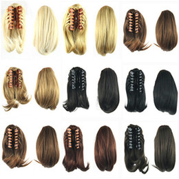 Wholesale 1PC g inch Synthetic Hair Claw Clip Ponytail Hair Extension Straight Black Brown Blonde Ponytail Short