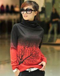 Wholesale Cotton Wool Turtlenecks - New women cashmere sweater turtleneck branch print Gradient Color design pullover sweater large size S-XXXL ZJ1224
