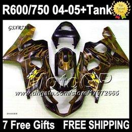 +Tank+Cowl For K4 04 05 SUZUKI GSX-R750 GSXR750 Gold Free Custom N106J52 GSXR-750 Golden flames black GSXR 750 2004 2005 Body Fairings