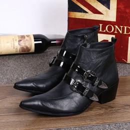 Aumento de la altura del tobillo de los zapatos de alta hombres en Línea-Piel Genuina Formal Botas Italianas Elegantes Botas Hombre Vaquero Zapatos La Altura De Los Hombres Aumentó Los Botones De Moda De Alto Tacón