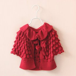 Wholesale Christmas Pink Cardigan - 2015 Kids Girls Knit puff cardigan baby girl Batwing poncho babies Fall Winter outwear knit sweaters children's clothes Christmas Red