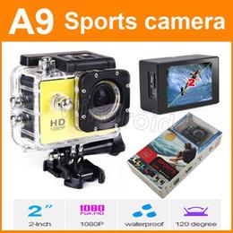 """Las mini cámaras digitales en venta-Cámara impermeable de los deportes cámara de la acción de A9 HD que se zambulle 1080P los 30M 2 """"visión de 120 ° Mini DV DVR digital Camcorders DHL"""