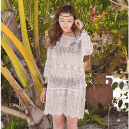 NEW! Fashion White Lace Embroidery Beach Dress Beachwear,beach cover ups, Sexy O-neck Summer , Bathing Suit Cover Ups