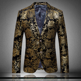 Wholesale 2015 Men s Blazers gold blazer for men suit autumn and winter high quality men s velor Married suit plus blazer slim man outwear jacket