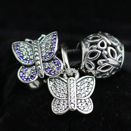 S925 Sterling Silver Charms and Murano Glass Bead Set with Charm Box Fits European Pandora Jewelry Charm Bracelets-Butterfly