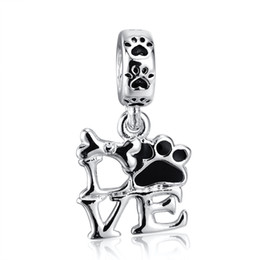 Wholesale Fashion Beautiful LOVE Pendant Charm Sterling Silver European Charm Beads Fit Pandora Bracelets Snake Chain DIY Jewelry