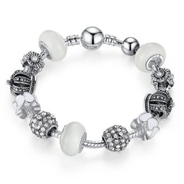 Fashion Charm Bangle Bracelets with White Murano Glass Beads & Crown Silver Charms & Clear Cubic Zirconia BL089