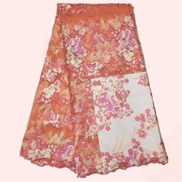 Hot sale wedding lace peach with flower French lace fabric African tulle lace material MN29-7 multi color
