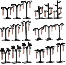 Wholesale Black Acylic Earring Tree Shaped Display Stand Holder Fashion Three piece Goat Horn Small Earring Display Rack Storage