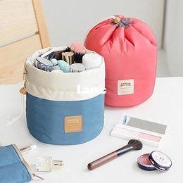Wholesale Barrel Shaped Travel Cosmetic Bag Nylon High Capacity Drawstring Elegant Drum Wash Bags Makeup Organizer Storage Bag