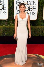 73rd Golden Globe Awards 2016 Celebrity Dresses Elegant Mermaid V Neck Floor Length Evening Gowns Custom Made