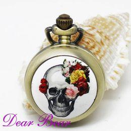 Wholesale Vine Brass Steampunk Gothic Skull Quartz Pocket Watch Necklace with mirror inside free ship dandys