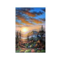 Wholesale Arizona Sunset Desert Saguaro Cactus Flowers X36 Spring Oil On Canvas Painting