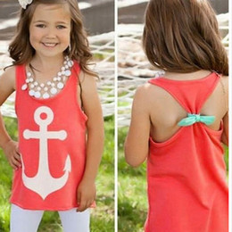 Wholesale-Hot Sale 2015 Baby Girl Backless Vest Fashion Sleeveless Bowknot Anchor Print Vest Tank Tops Summer Vest Free Shipping