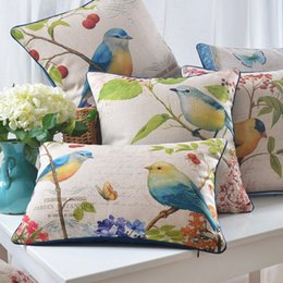 24 styles Birds and cherry tree Custom Cushion Covers Sailing Boat Flower Pillows Case Pillow Cover Wedding Gift Sofa Chairr Decoration