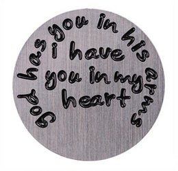 Wholesale 20PCS lot God Has You In His Arms I Have You In My Heart Stainless Steel Floating Window Plates Fit For 30mm Glass Memory Locket
