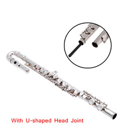 High Quality Silver Plated 16 Closed Holes C Key Flute Straight U-shaped Head Joint with Case Cloth Screwdriver
