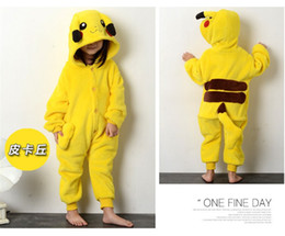 Wholesale Pikachu Child Kigurumi Boy Girl Pajamas Animal Suit Cosplay Outfit Christmas Costume Kid Cartoon Jumpsuits Baby Animal Sleepwear