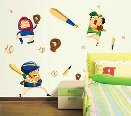 Wholesale Cartoon Animation Baseball Boy Wall Stickers For Kids Rooms DIY Papel De Parede Infantil Decoracao Wall Sticker