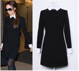 Wholesale 2015 Fashion Star Style Victoria Beckham Dress Slim Elegant Turn down Collar Long Sleeve Black Dresses for Women QJ