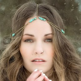 Vintage Turpuoise Layered Antique Bronze Hairband Head Chain Hair Accessories Jewelry CF153