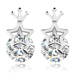Hot 925 sterling silver items crystal jewelry charm earrings vintage shinning star shape fashion new arrival