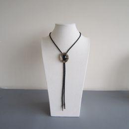 Western Tie Clips Bolo Tie For Men Original Antique Gold Plated Nature Black Obsidian Bolo Tie BOLOTIE-015