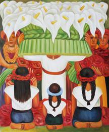 Wholesale Figure oil painting Flower Festival Feast of Santa Anita Diego Rivera s painting hand painted on linen