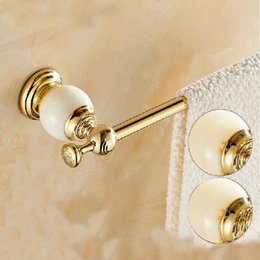 Wholesale And Retail Luxury Golden Brass Wall Mounted Bathroom Towel Rack Holder Marble Hangers Single Bar Hanger