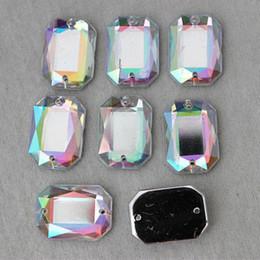 100PCS 13*18mm AB Color Loose Rhinestones Acrylic Charms Sew-On Flatback ZZ169
