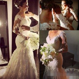 Vintage Mermaid Wedding Dresses Long Sleeves Lace Sexy Buttons Back Plus Size Wedding Bridal Gowns Custom Made