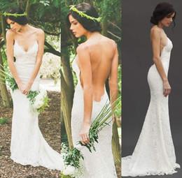 2016 Sexy Backless Lace Wedding Dresses V Neck Spaghetti Custom Made Beach Wedding Dress Boho Mermaid Wedding Gowns Sweep Train
