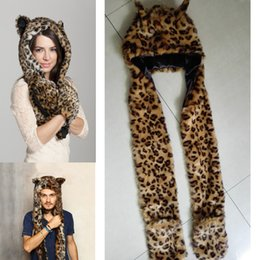 Wholesale-New Fashion 2015 Faux Fur Animal Hat With Long Scarf leopard Fur Hat With Paws Beanies Cap Winter Cartoon Hat High Quality